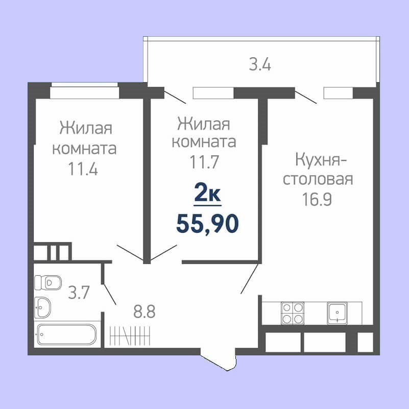 Планировка квартиры евродвушка - 55,90 м2 (жилая - 23,10 м2)